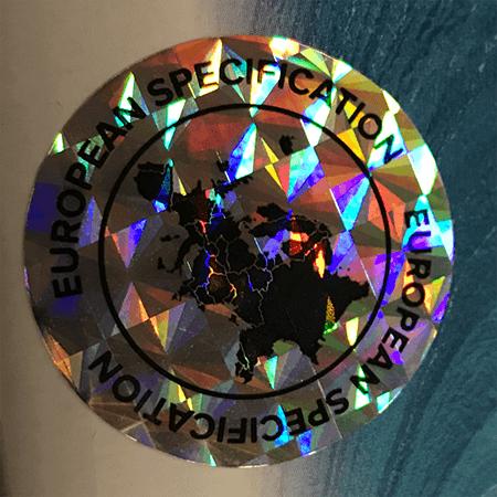 Jecod EU hologram : Al onze Jecod producten zijn voorzien van een EU hologram (zie afbeelding) wat garant staat voor een Jecod product dat geproduceerd is voor de Europese markt.