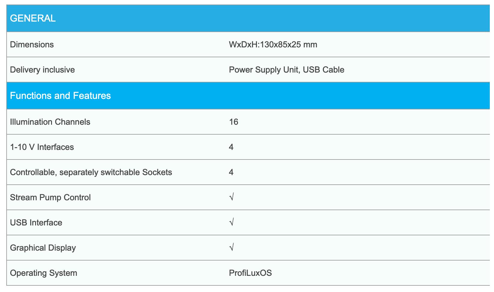 profilux light specificaties