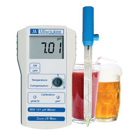 Milwaukee Portable pH meter 0,00-14,00 met 2 punt manuele calibratie, incl electrode
