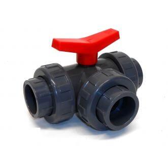 PVC kogelafsluitkraan drie-weg