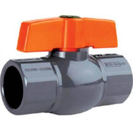 PVC kogelafsluitkraan -  grijs - enkele wartel